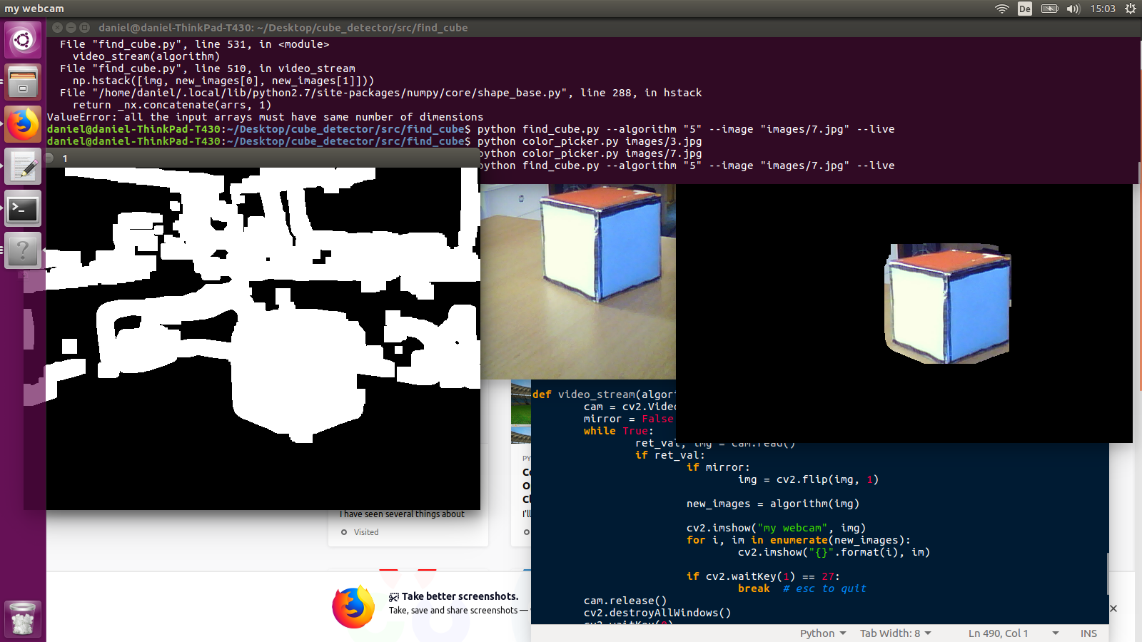 Detect orientation of a cube with openCV